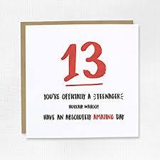 happy 13th birthday card thirteen 13 son daughter niece