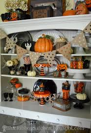 blue ribbon kitchen halloween hutch halloween fall decor