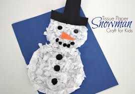 diy tissue paper snowman craft for kids