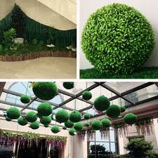 Hanging Topiary 1 2 4x Plastic Topiary 28cm Leaf Effect Grass Ball Hanging Home
