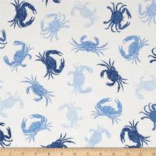 Home Decor Print Fabric Timeless Treasures Beach Rules Blue Crabs Ivory Discount
