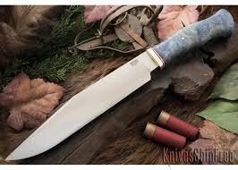 Bark River Kitchen Knives Bark River Knives Custom Cowboy Bowie Blue U0026 Gold Elder Burl