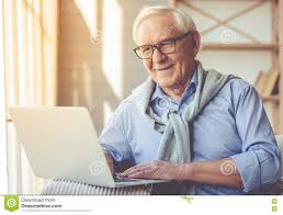 old man handsome old man at home stock image image of gadget 78610671
