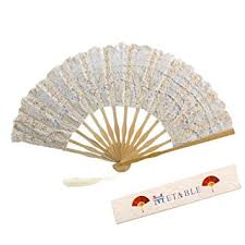 lace fan metable lace fan cotton lace embroidered with bamboo