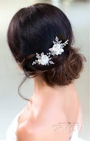 bridal hair pins dionysia white flower bridal hair pins by topgracia