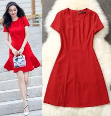 fashion women a line dress short sleeves red casual dresses l5162