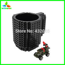 design plastic mug cartoon plastic block design mug best gift cup build on brick lego
