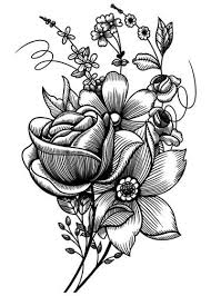 sketch mixed flowers vintage floral temporary tattoo tatt me