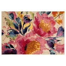 Modern Floral Rug B443 Pink Arabella Floral Rug 5x7 Ft At Home At Home