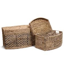 basket home decor adeco multi purpose seagrass woven basket chest with lid light