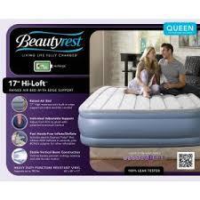 beautyrest queen 17 in hi loft raised adjustable air bed mattress