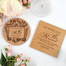 engraved wedding wooden coasters wedding placecard wooden