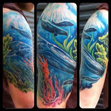 underwater half sleeve by chad miskimon tattoos