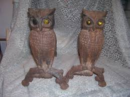 fireplace andirons owls with yellow glass eyes 1800 u0027s wrought iron