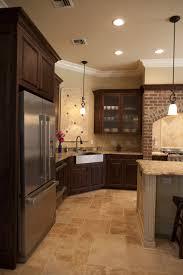 stunning cream brown colors travertine tiles kitchen floor with