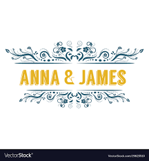 retro vintage wedding ornament title frame