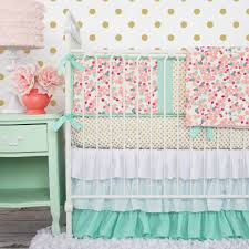 Small Crib Bedding Mint And Mini Floral Baby Bedding Crib Set In Coral Of Mini