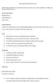 resume for exle nursing student resume objective megakravmaga