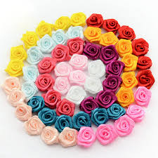 satin roses 15mm 100pcs lot handmade satin ribbon rosettes fabric flower