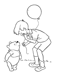christopher robin giving balloons in coloring pages omeletta me