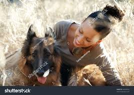 belgian malinois dog young happy woman belgian malinois dog stock photo 59409016