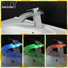 led bathroom faucet waterfall glass basin sink mixer 3 color