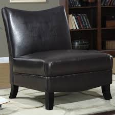 Faux Leather Accent Chair Faux Leather Accent Slipper Chair In Brown I 8046