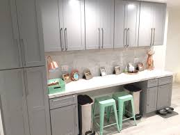 carrara marble subway tile kitchen backsplash homeschool work station copper and mint gray cabinets