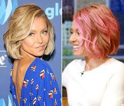 kelly ripa hair kelly ripa ditches her pink hair dyes tresses bright blue shade pics