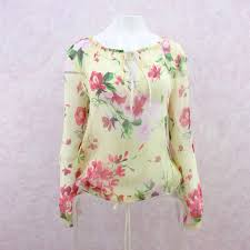 floral chiffon blouse 2000s floral chiffon blouse nos voguely familiar