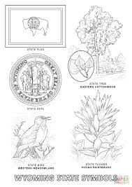wyoming state symbols coloring page free printable coloring pages