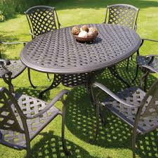 Cast Aluminium Outdoor Furniture by Bramblecrest Rome 6 Seat Oval Cast Aluminium Garden Furniture Set