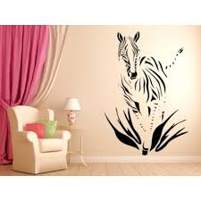 painting stencils for wall art zebra comes out of the tall grass wild animals wall decal