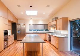 stunning l shape kitchen features brown color birch kitchen