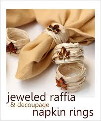 wedding napkins fall diy napkin rings using raffia 2059403