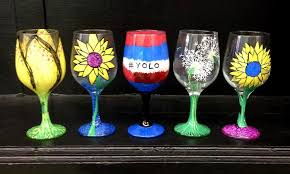 byob wine glass painting class the artistic giraffe groupon