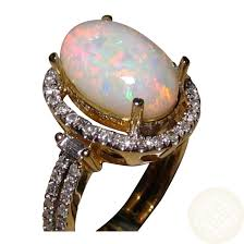 natural opal rings images Oval white opal diamond ring 14k gold natural opal rings flashopal jpg