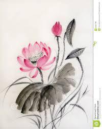 Japanese Flower Artwork - watercolor painting of lotus flower royalty free stock photos