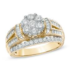 cluster engagement ring 1 1 4 ct t w cluster engagement ring in 10k gold the