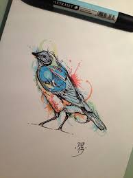 watercolor bird tattoo flash