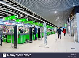 Supermarket Cash Desk Kiev Ukraine March 22 2017 Row Of Cashier And Cash Desk In A