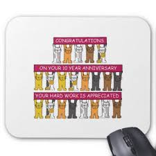 work anniversary gifts 10 year work anniversary cats mouse pad gifts diy