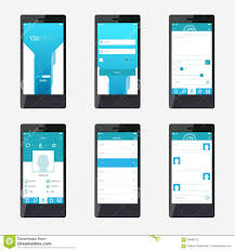 template mobile application interface design stock vector image