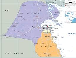 kuwait on a map detailed political map of kuwait ezilon maps