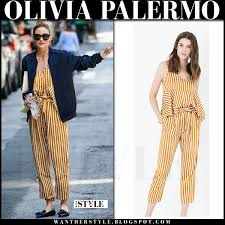 olivia palermo yellow striped top and matching striped pants in