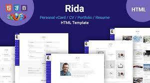 Resume Html Template Rida U2013 Vcard Responsive Html5 Portfolio Resume Template U2013 Aazztech