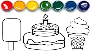 cake and ice cream coloring page howto make cake and ice cream