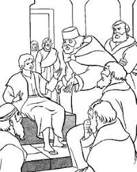coloring page of jesus in the temple as boy