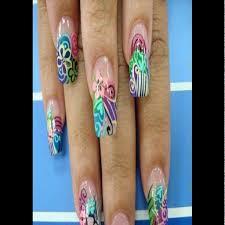 beautiful acrylic nails airbrush designs