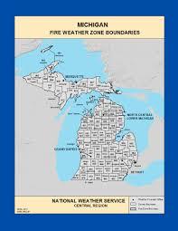 Maps Michigan by Maps Michigan Fire Weather Zone Boundaries